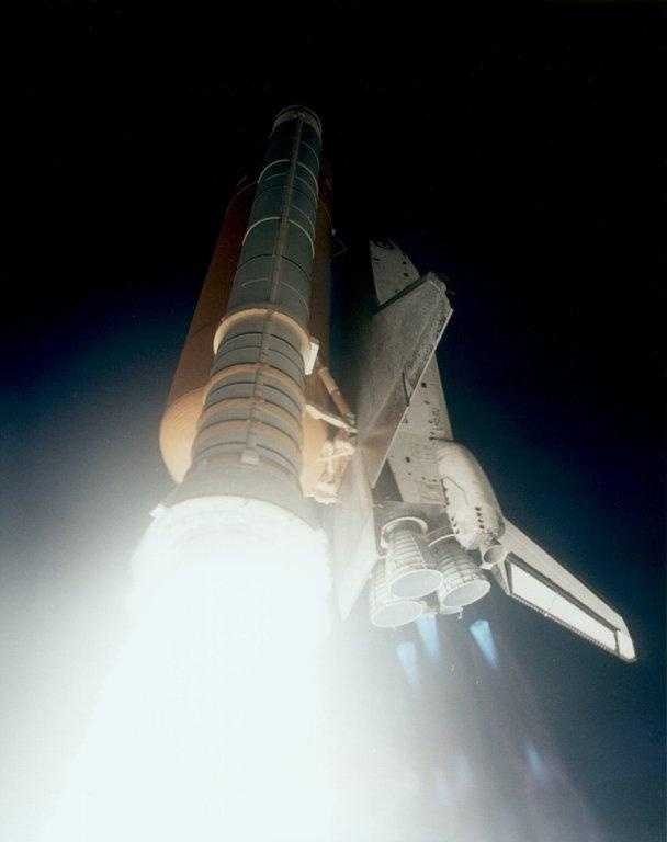 A close up of the Endeavour launch from below the Space Shuttle Solid Rocket Boosters
