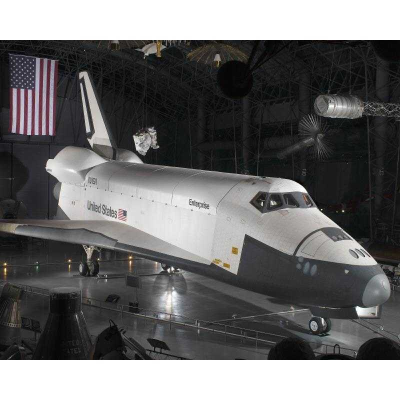 Shuttle Enterprise, the first orbiter built, is currently the centerpiece of the McDonnell Space Hangar at the National Air and Space Museum's Steven F. Udvar-Hazy Center in Virginia.