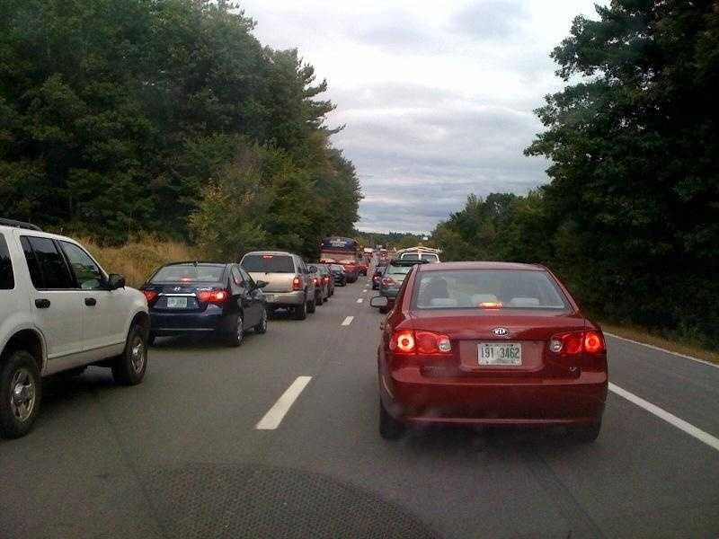 Traffic was backed up on the Route 101 ramp to Interstate 293.