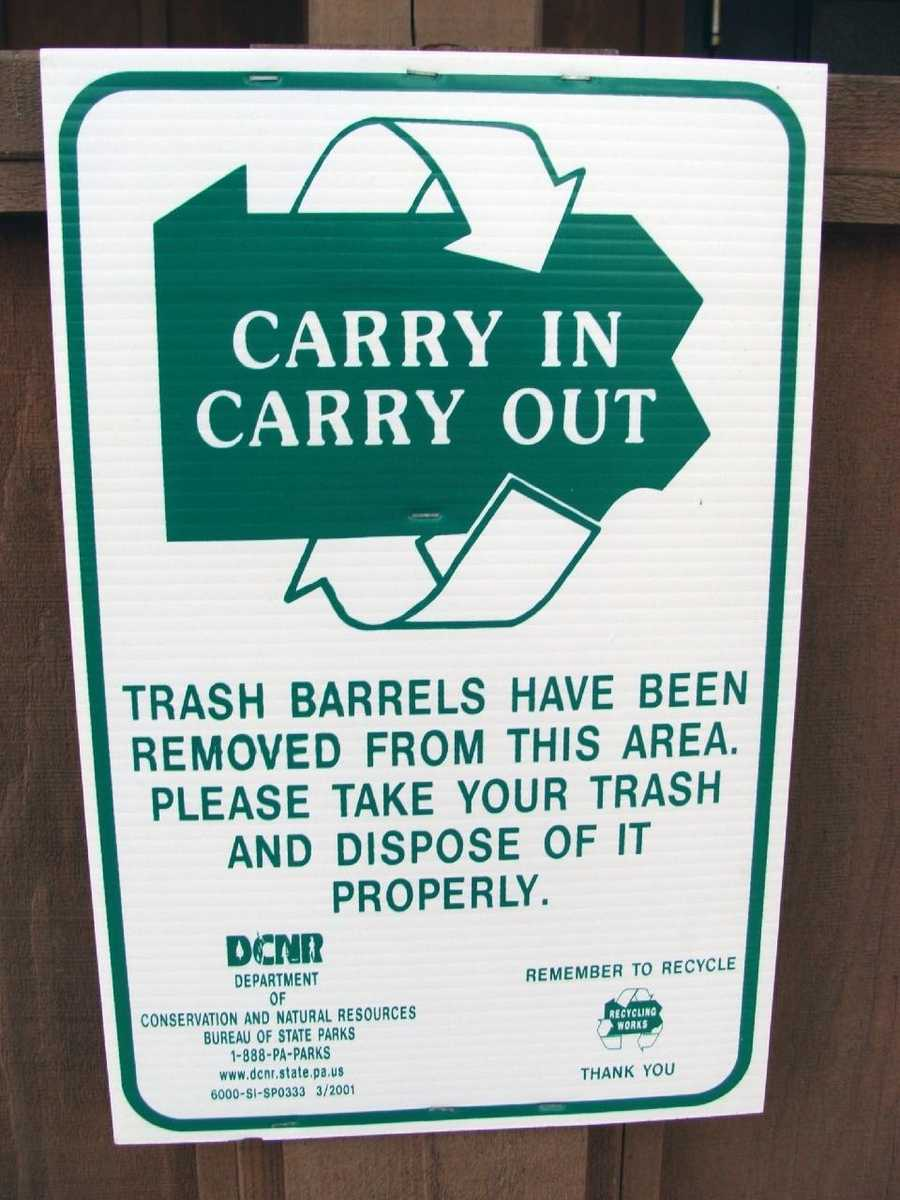 No trash cans are available in the park. Visitors are asked to take their trash with them.