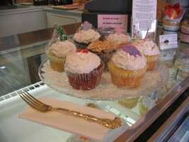 Cupcakes for sale at a shop in downtown Lititz.