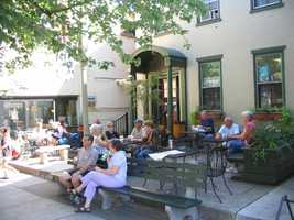 Coffee drinkers gather along Route 501 in downtown Lititz.