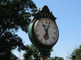 A Rolex clock keeps time in Lititz Springs Park.