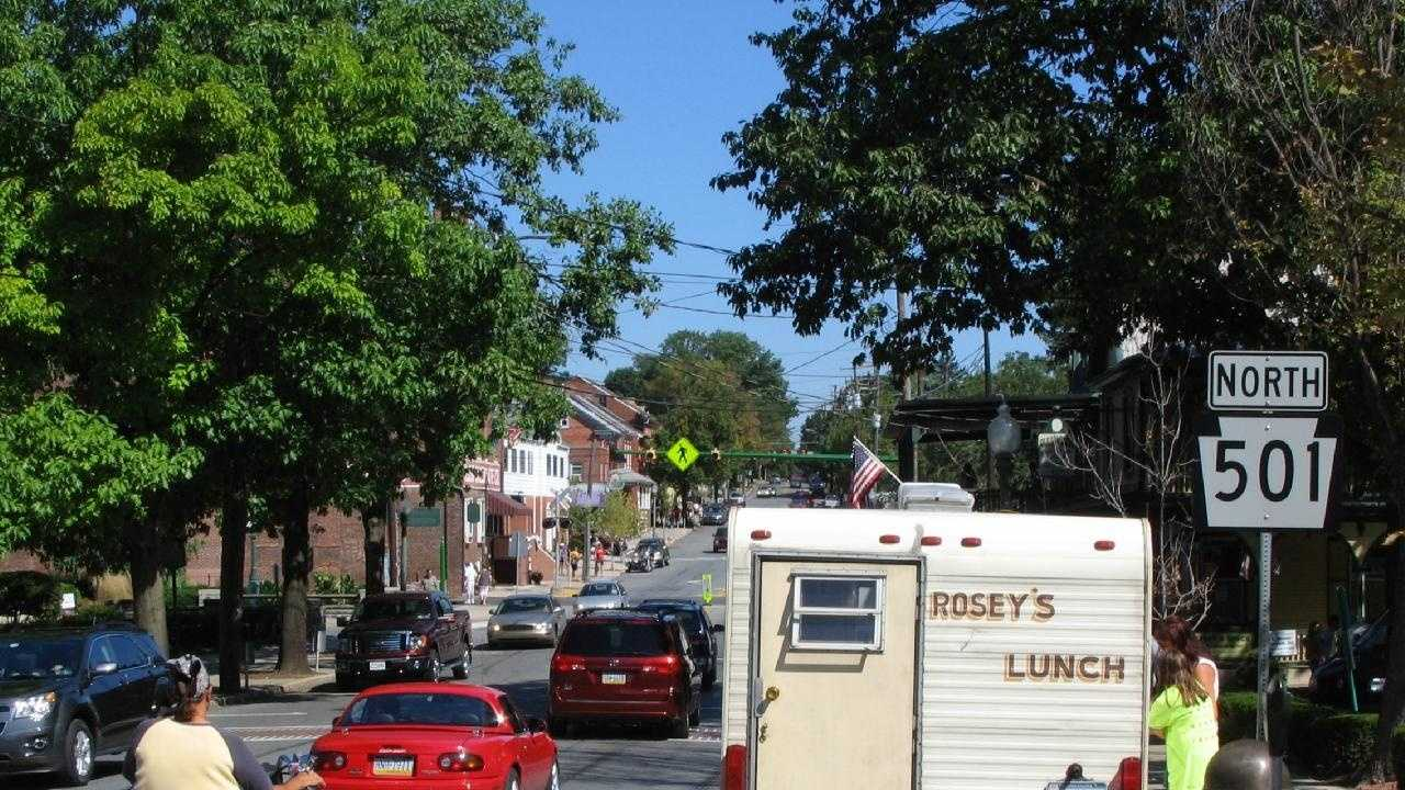 A scene of Route 501 in downtown Lititz.