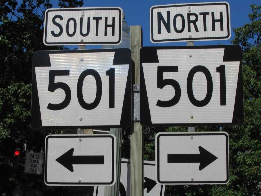 Route 501 runs north-south through the center of Lititz.