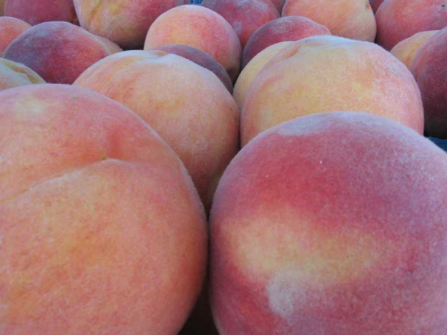 Peaches for sale at the Lititz Farmers Market.