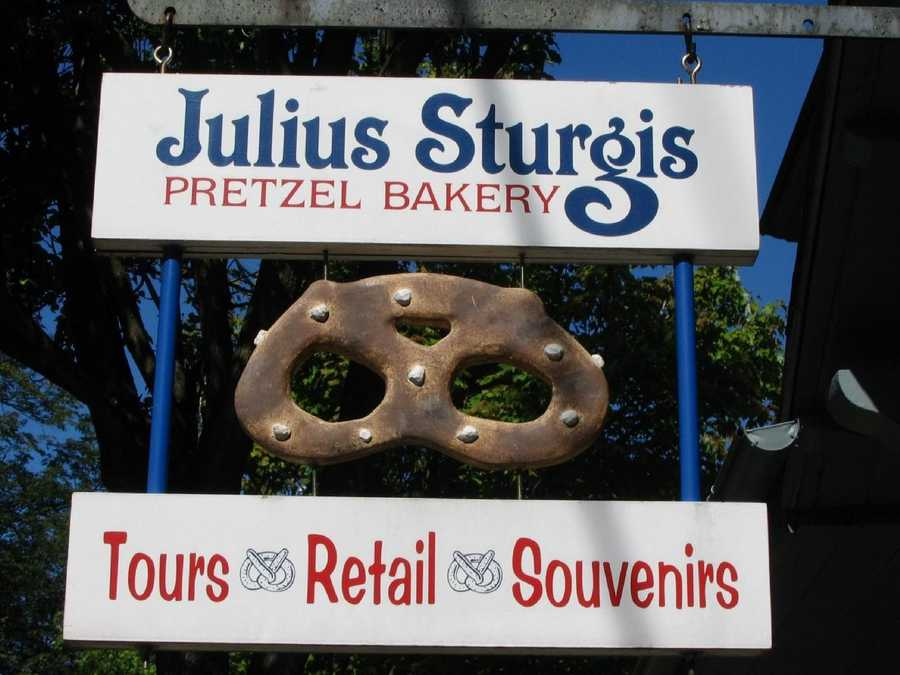 The Julius Sturgis Pretzel Factory in Lititz claims to be the first commercial pretzel-making enterprise in the United States.