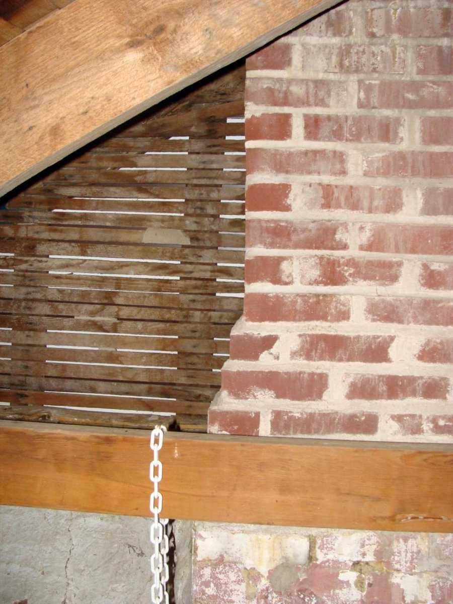 Here is the chimney in the attic.