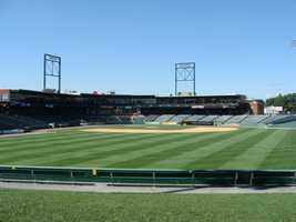 View of the ballpark from the lawn area. Fans can bring blankets and lawn chairs if they don't want to sit on the grass.