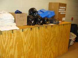 Each player has their own bat home to store their bats.