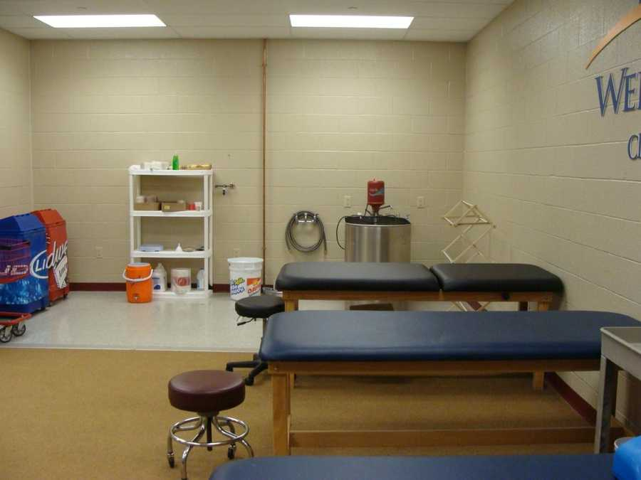 The training room is located inside the players' clubhouse, as is the trainer's office.