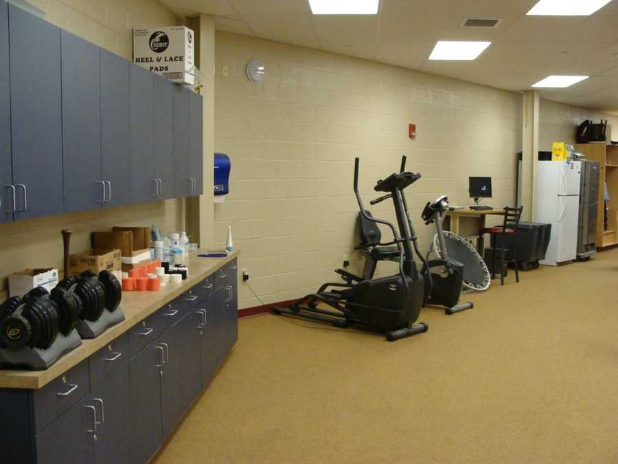 The room includes tables, weights, elliptical, whirlpool, and anything players need for rehab or everyday treatment.