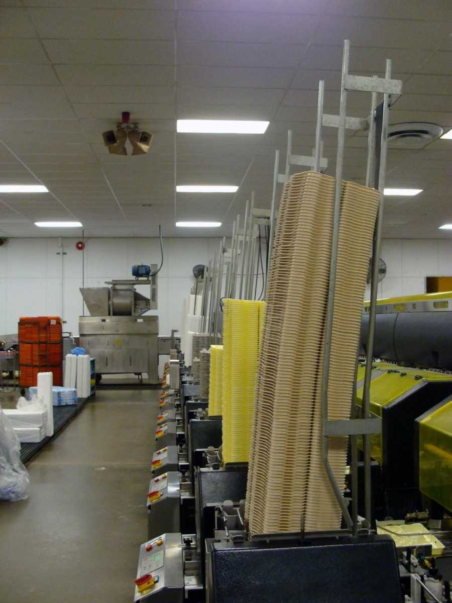 The first and third shifts sanitize and package eggs. The second shift sanitizes all the equipment.