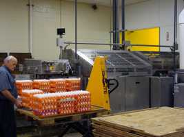Only eggs from a single farm are processed at any given time.