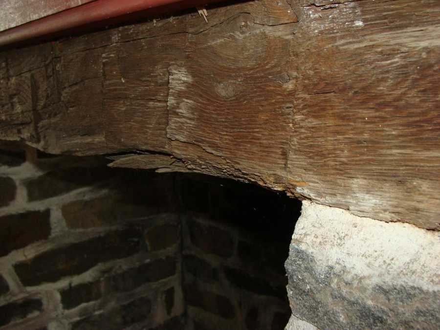 Building codes for a Gettysburg farm house didn't exist in 1863, which might explain this exposed, slightly charred, wooden beam above the fireplace.