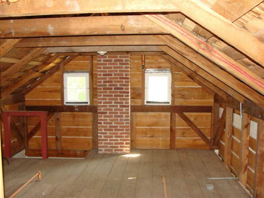 This shot in the attic shows the view back toward the little staircase.