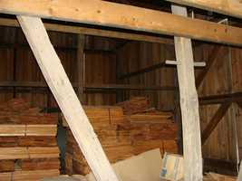 Much of the barn is reconstructed, but some beams are original.