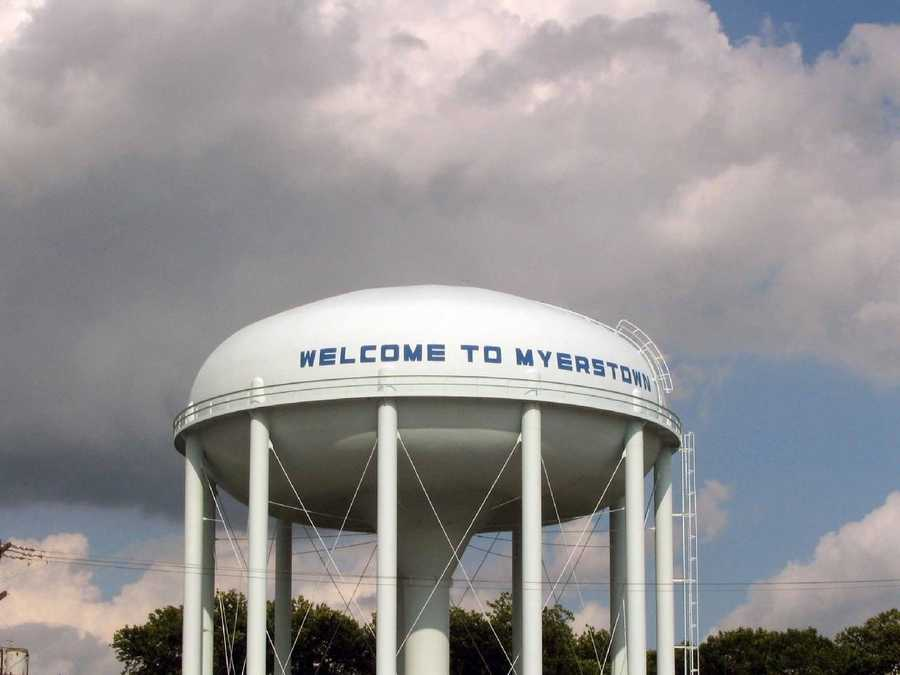 The Myerstown water tower dominates the skyline above the entire town.