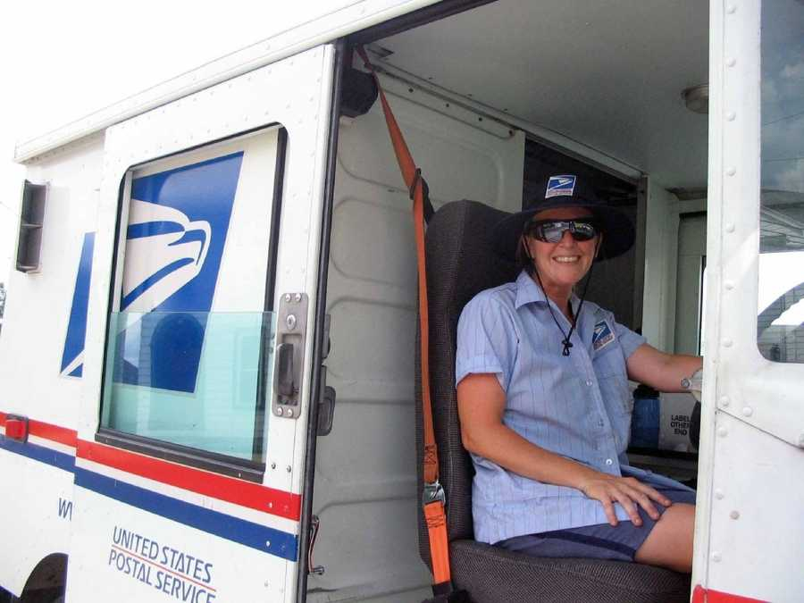 Lisa Null delivers the mail in downtown Myerstown.