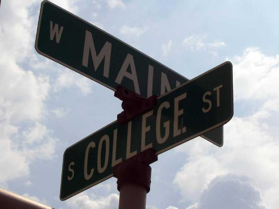 One of the main downtown intersections in Myerstown is Main Avenue and College Street.