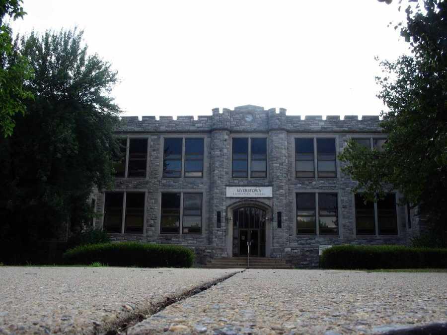 A sidewalk leads to Myerstown Elementary School along South Railroad Street.