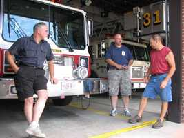 "Dean Wagner, chief engineer, Dave ""Beef"" Hull and Craig Reppert, assistant engineer, chat at the Keystone Fire Co."