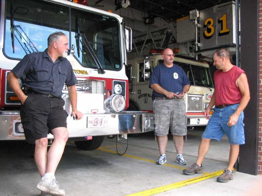 """Dean Wagner, chief engineer, Dave """"Beef"""" Hull and Craig Reppert, assistant engineer, chat at the Keystone Fire Co."""