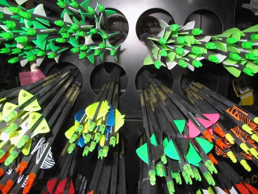 Arrow feathers come in a myriad of colors at Laucks Sporting goods, 26 W. Main Ave.