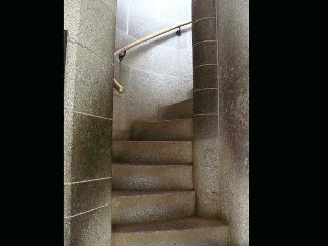 If you go up these stairs inside the monument ...