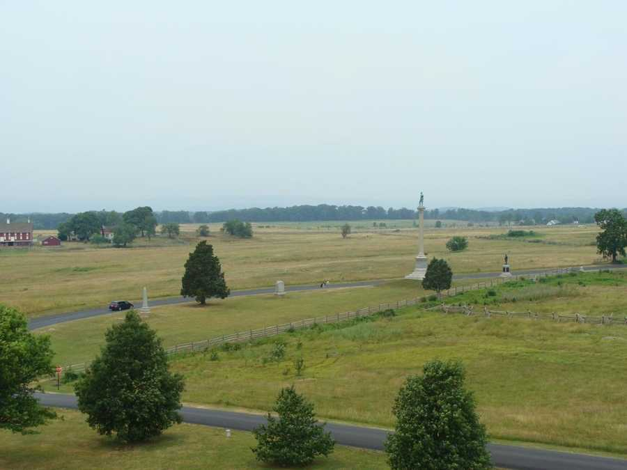 As seen from a perch atop the Pennsylvania Monument, this is the field where Pickett's Charge happened on day 3 of the battle. Pickett's Charge was the final, and failed, assault by Confederate troops.