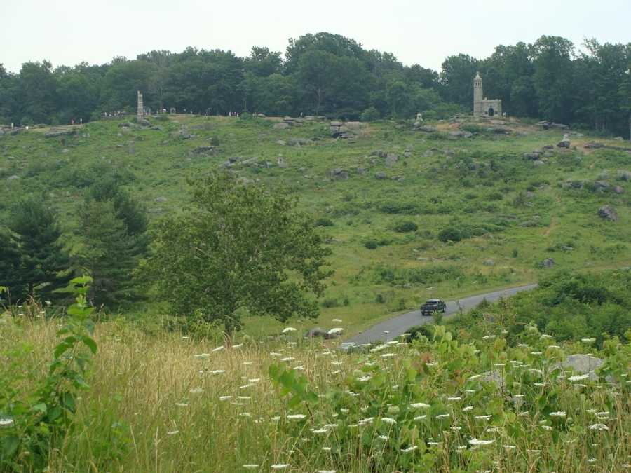This shot was taken from Devil's Den, looking up at Little Round Top, where Union troops mounted a defense, firing down on Confederate troops that were trying to take the hill.
