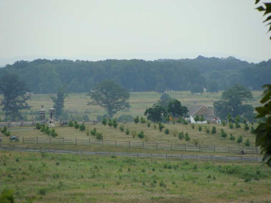 Also on day 2, Union General Dan Sickles made one of the battles more controversial decisions. While he was ordered to hold a position on Cemetery Ridge, he saw a slighter higher piece of land here -- near the Peach Orchard. The orchard has been replanted as part of the National Park Service's restoration.