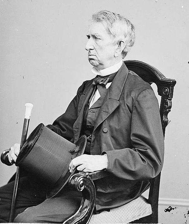 This man is United States Secretary of State William H. Seward. On the night Lincoln was shot at Ford's Theater, Powell broke into Seward's home and tried to kill him with a knife. Seward survived and Powell was captured.