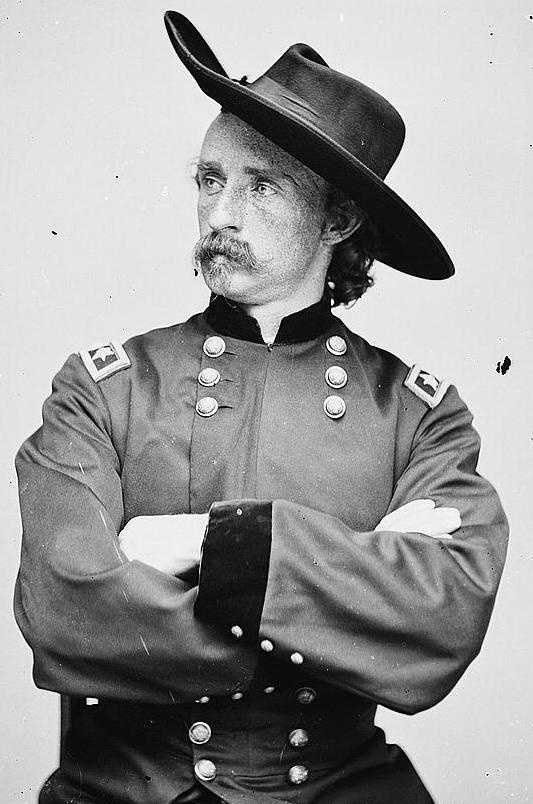 During the Battle of Gettysburg, Custer was the general in charge of the Michigan Cavalry.
