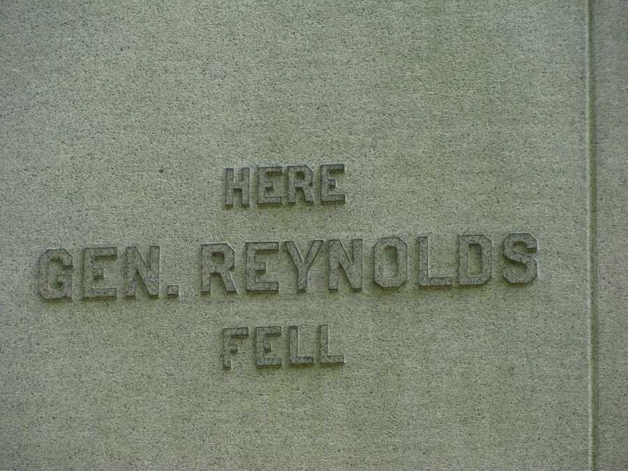 This is a look at the back of Reynolds' monument.