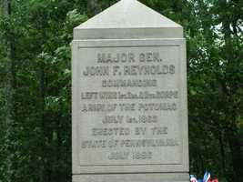 This monument honors Reynolds. He could have missed the battle entirely. Not long before the fight, he had been offered command of the Army of the Potomac, but he refused.