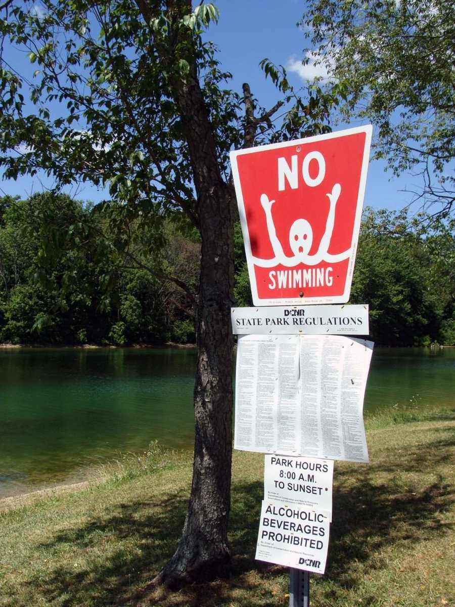 Swimming is not permitted in the lake. Due to the extreme water level fluctuations, it is impossible to maintain a swimming beach.
