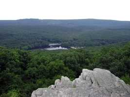 The entire park can be viewed from the Pole Steeple Overlook, which is a quartzite rock outcropping.