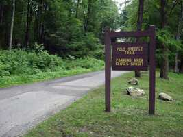 The trail begins at the Pole Steeple parking lot, which is along Railroad Road by Laurel Lake, and winds up Piney Mountain to the rocky overlook.