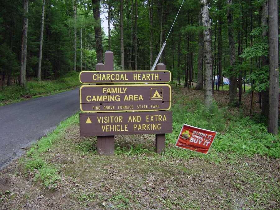 Seventy tent and trailer sites are available from the opening of trout season in spring to the close of rifle deer hunting season. A sanitary dump station for RVs is located near the campground entrance.