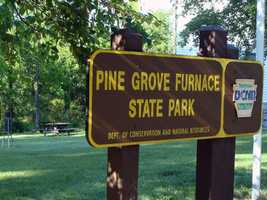 Pine Grove Furnace State Park in Cumberland County has two lakes and beaches, a campground and hiking trails.