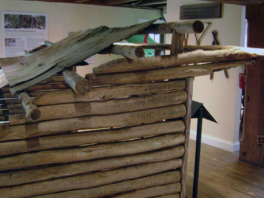 The shelter, which has been replaced with a more modern one, was disassembled at its former site on Peters Mountain in Pennsylvania and reassembled in the Museum.