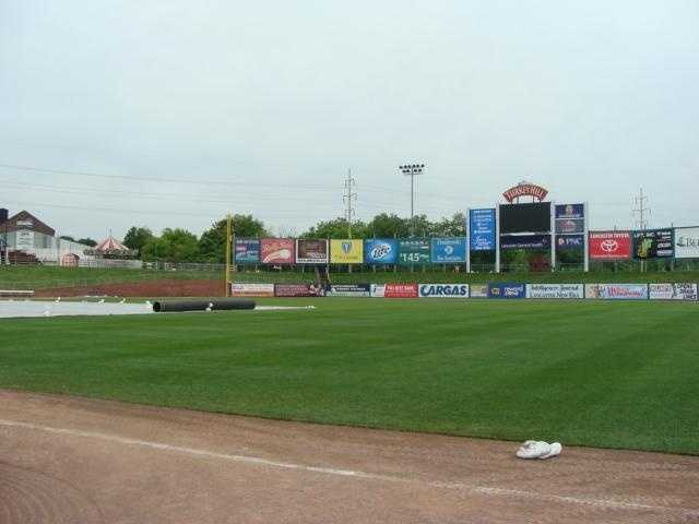 A Barnstormers player's POV of the field from the tunnel entrance.