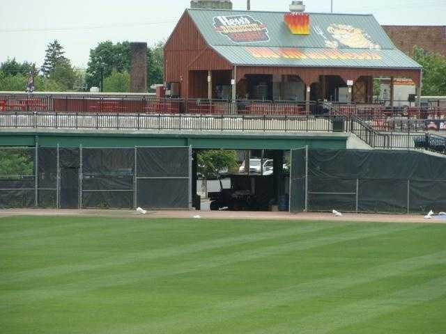 A view of the player's entrance from center field.