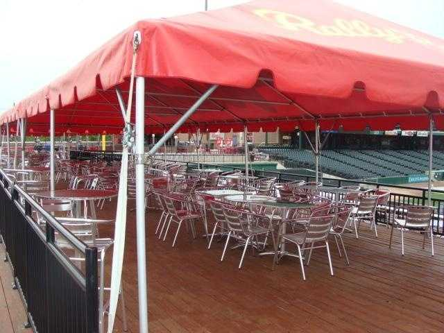 The picnic pavilion is reserved for group outings, and sits in right field.