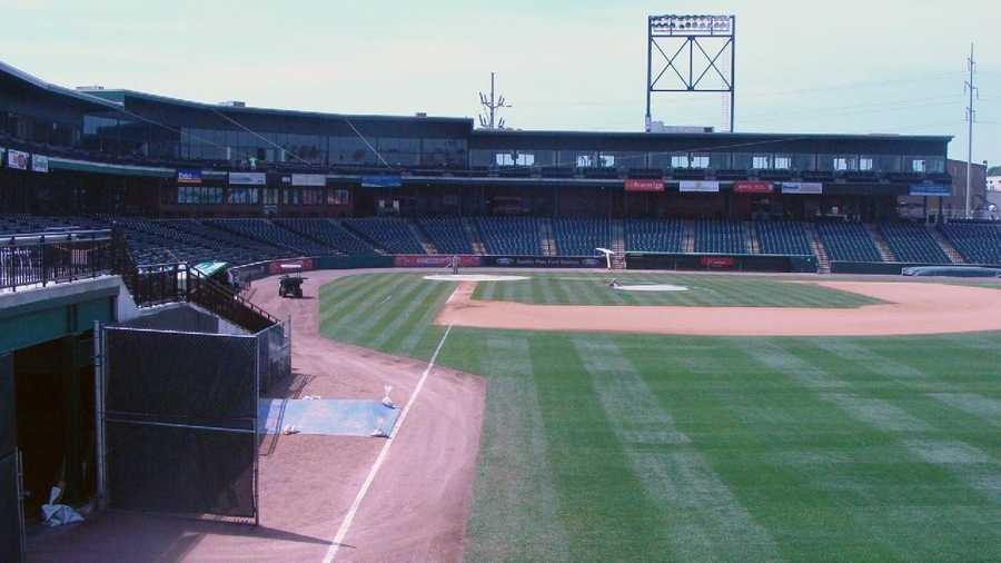 A view of the field from the right field foul line.
