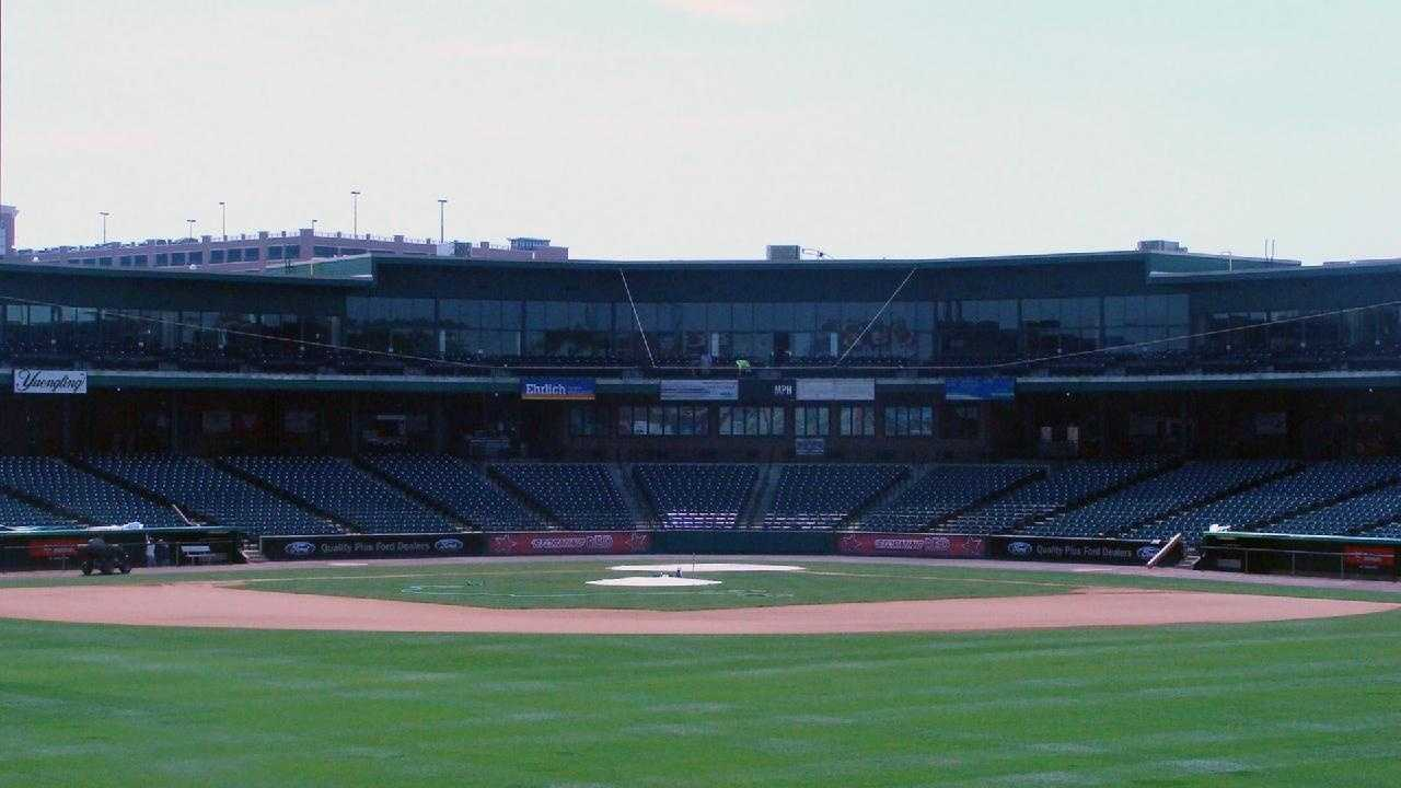A view of the grandstand from center field.