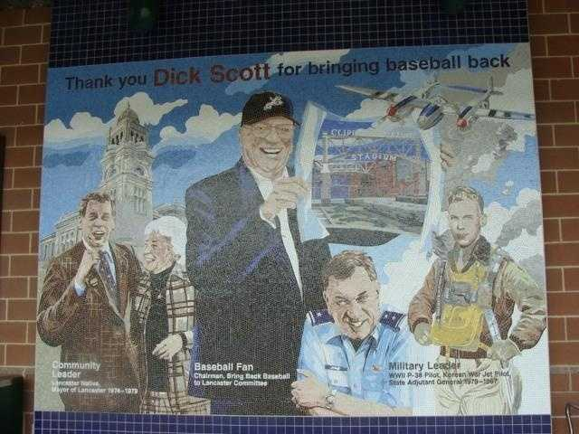 This is the first thing spectators see when entering the stadium. The mural was created in honor of former Lancaster Mayor Dick Scott, who was the driving force for bringing baseball back to the city.