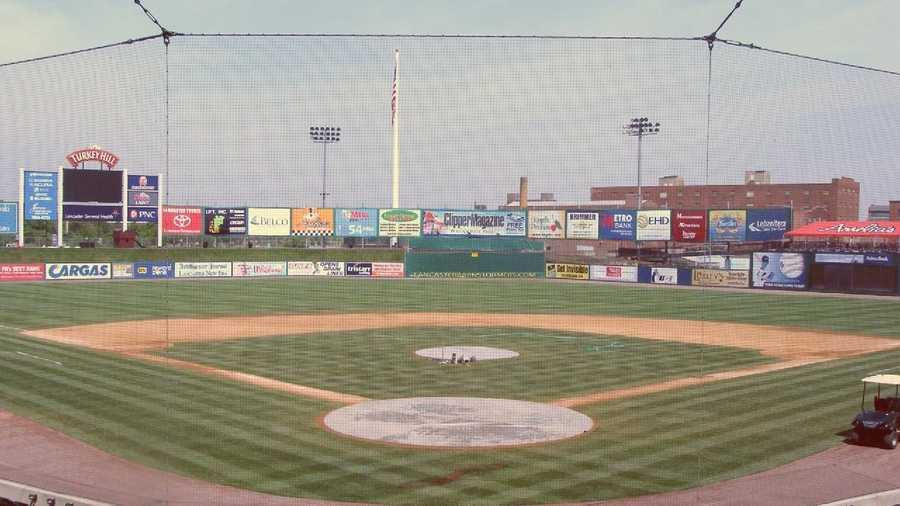 A view of the field from behind home plate.