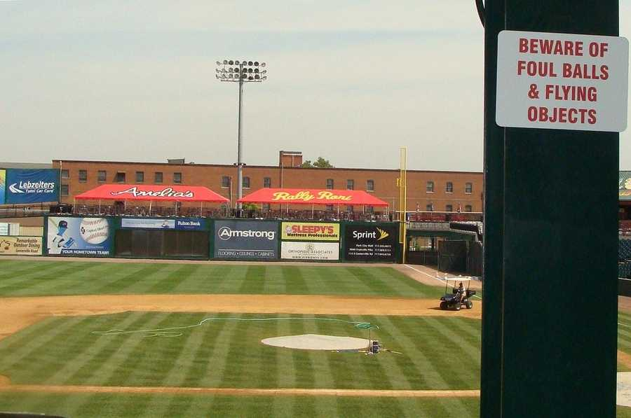 A view of the field between third base and home plate.